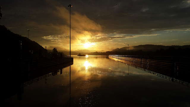 5) The sunrise pictured here in near the Winfield Locks and Dam in Winfield, West Virginia.