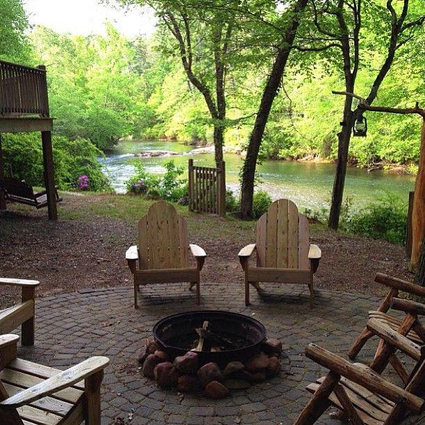 6) Sitting around a fire pit in Helen, GA