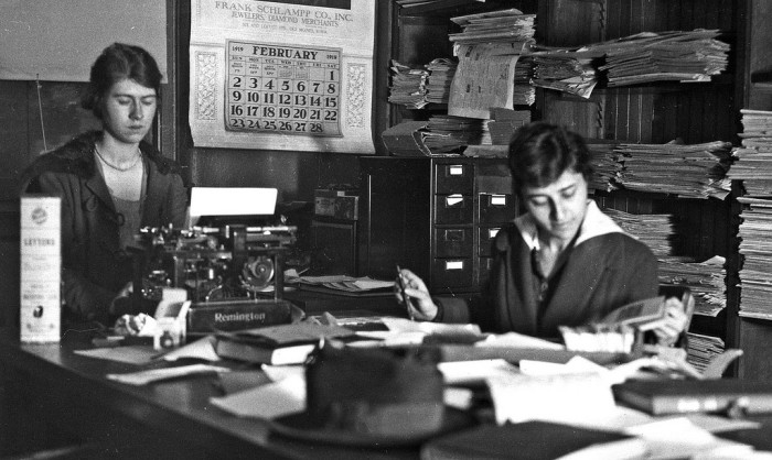 10. Students at Iowa State College in 1919, working on a student publication.