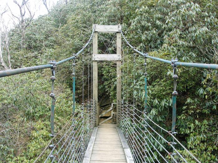 5. The suspension bridge over Raven Cliff Falls