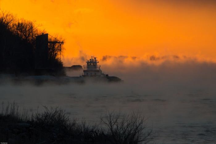 5) Misty, frigid morning sunrise on the Ohio River