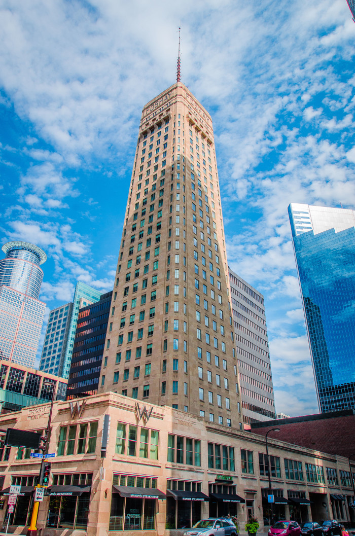 6 Foshay Tower modeled after the Washington Monument is one of the most prominent buildings in the Minneapolis skyline.