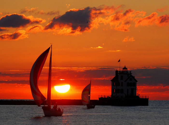 12) Lake Erie and Lorain Lighthouse at sunset