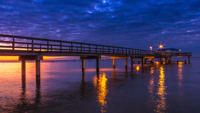 1. A beautiful sunset at Mayday Pier in Daphne, Alabama.