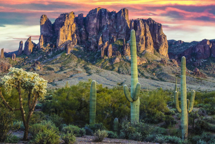 3. A colorful look at the Superstitious Mountains during sunset.