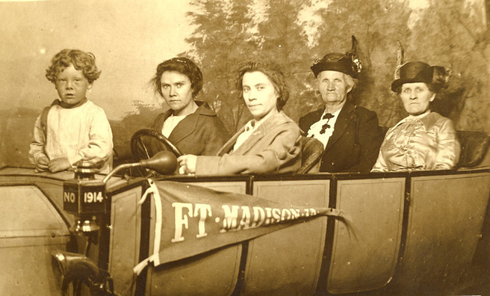 1. These happy-looking roadtrippers in Fort Madison, 1914.