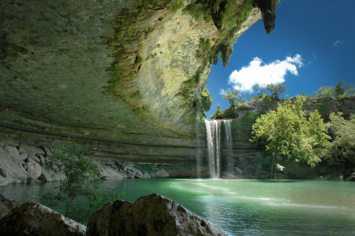 5) The waterfall cascades over the limestone at the gorgeous Hamilton Pool.