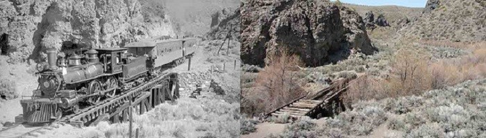 """5. An amazing """"before"""" and """"after"""" photo of nature reclaiming the Virginia and Truckee Railroad between Virginia City and Reno, Nevada."""