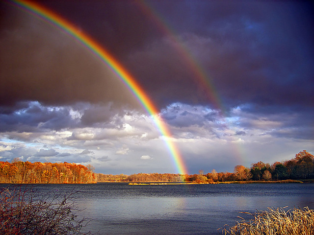 15. This lucky double rainbow arcing over Minsi Lake.