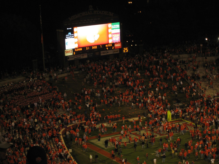 9. Want to surprise her? Both of you are football fans? Why not propose via scoreboard during half-time?
