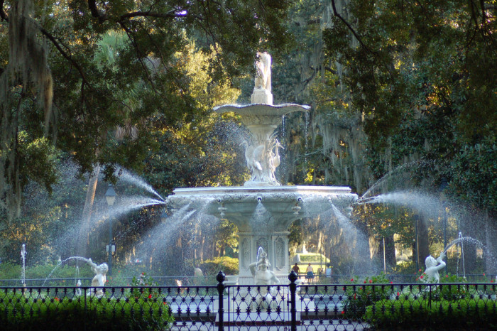 5) At the water fountain at Forsyth Park in Savannah