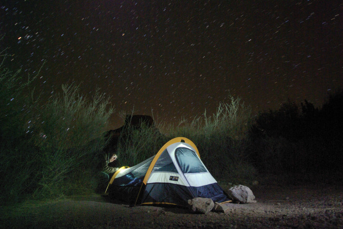 4) Gone camping in the great Texas wilderness underneath our stars so big and bright.