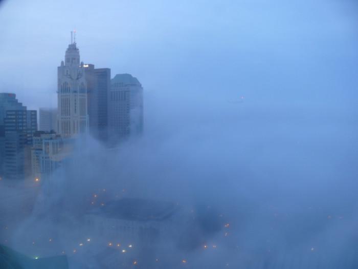 2) Columbus misty, spring  morning sunrise