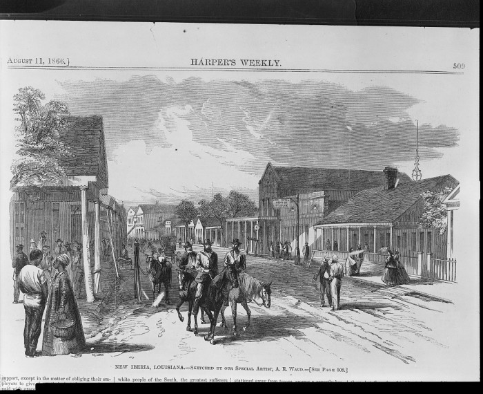 2) Wood Engraving of a Louisiana Town, 1866