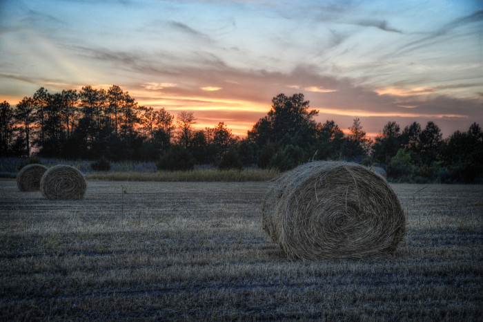 4) Night Falling Over Rolls of Hay in Cherry County
