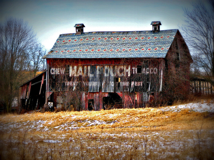 16) Mail Pouch barn with a colorful roof along U.S. 22 (Perry County)