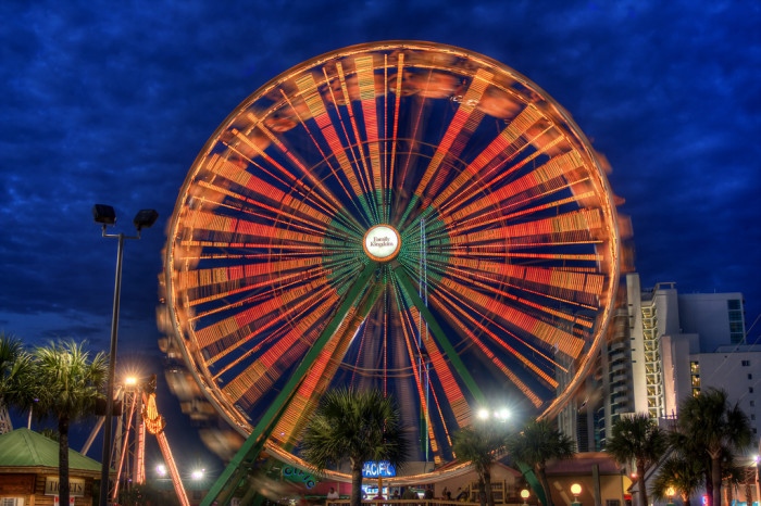 4. At the top of the Myrtle Beach Skywheel. Okay, it may sound a bit cliche to some people, but you know that it can be a pretty epic proposal place. You are both up there all alone, the bright lights burst through the darkness from below...you ask for her hand...