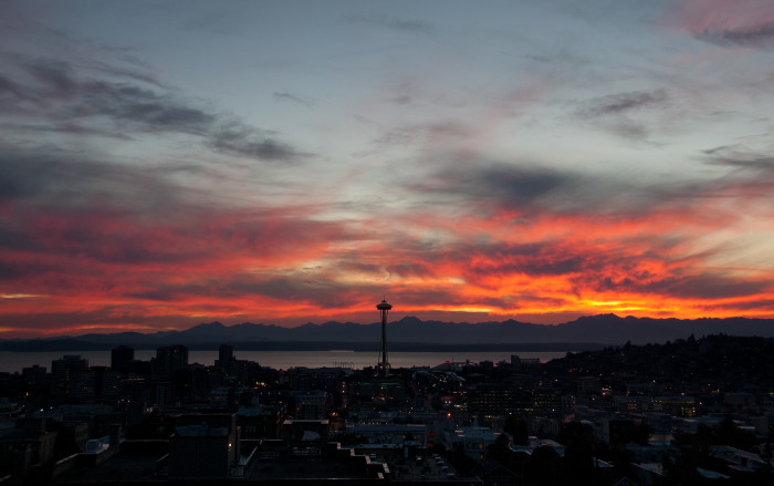 This fiery sunset lit up Seattle's sky perfectly.