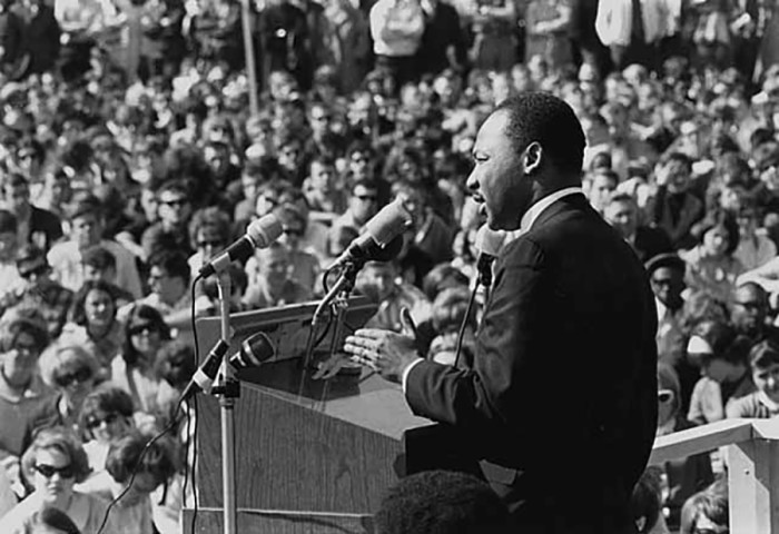 1. Dr. Martin Luther King speaking at the University of Minnesota Campus in St. Paul.