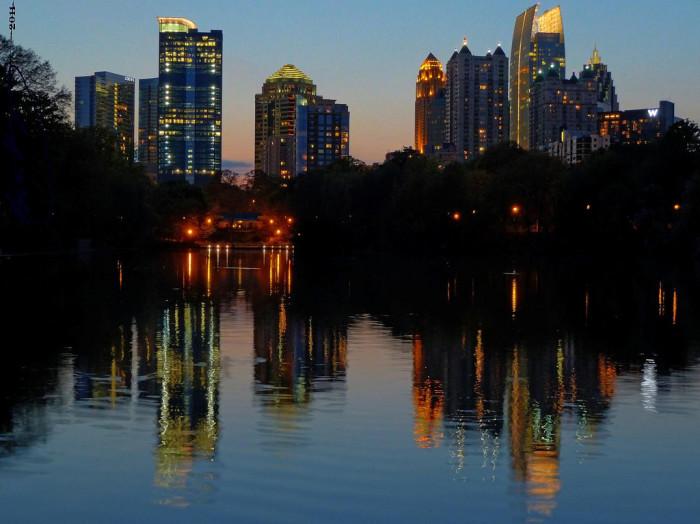 6) Midtown Atlanta's illuminated Skyline