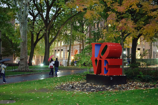 20. This colorful picture of UPenn's campus with the LOVE statue.