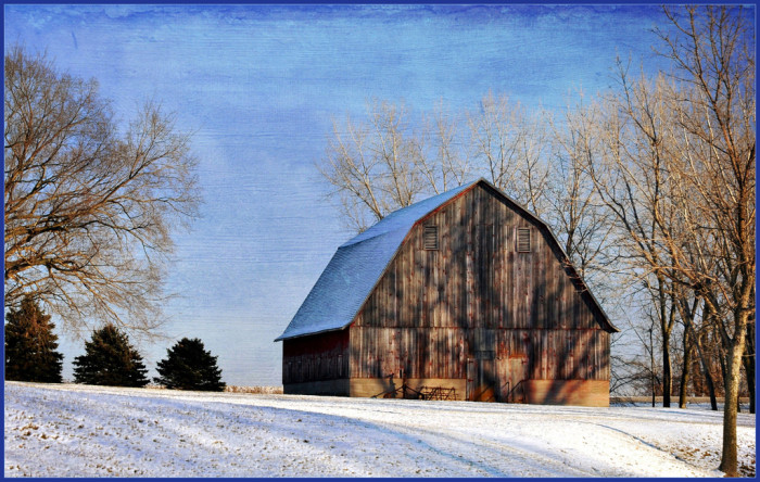 6. This sturdy old barn near Webster City on a chilly winter day