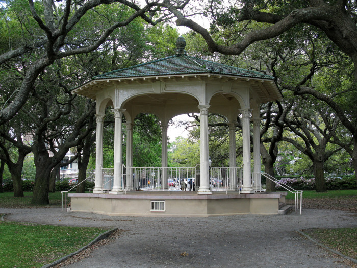 """12. White Point Gardens on the battery of Charleston. There is the gazebo, large oaks, soothing breezes...what more could you ask for? I bet she will say """"yes""""!"""