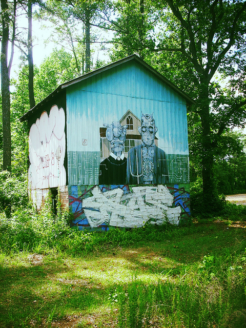 12. That's some neat art for barns that are in the middle of nowhere