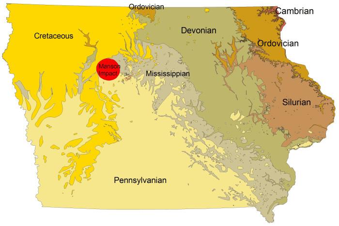 7. An asteroid impacted near Manson