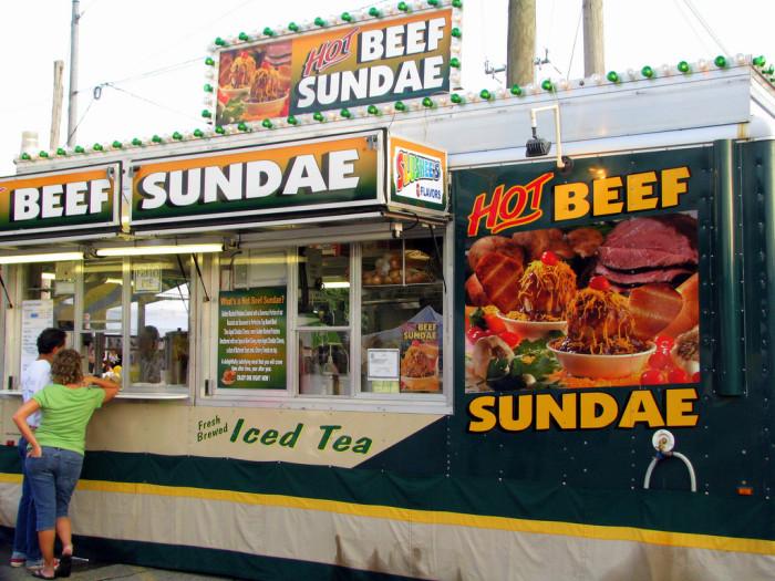 7. Hot beef sundae