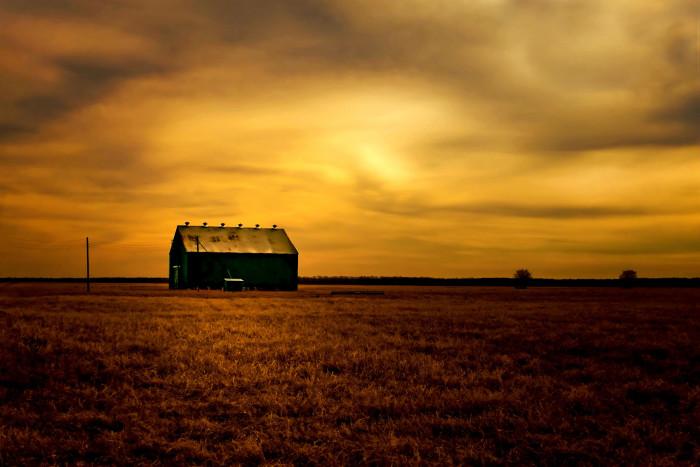 "1) ""Big Green Barn In Sunset"" (Robertson County)"