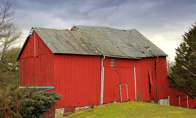 2. Time is beginning to show its wear and tear on this old red barn in Northampton County.