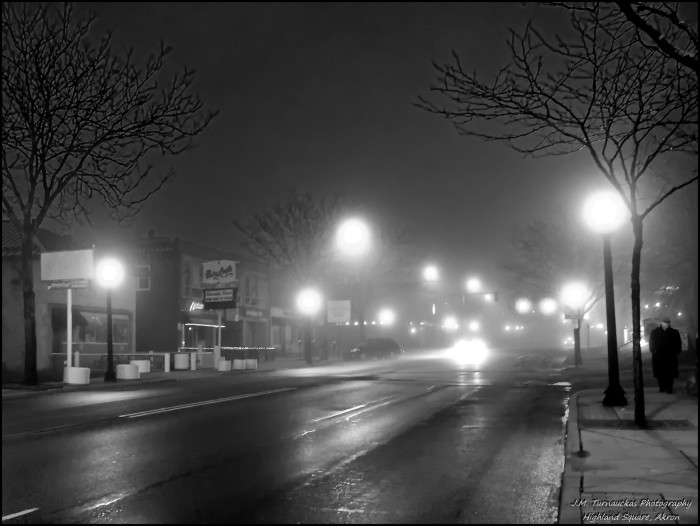 3) Foggy morning at Highland Square (Akron)