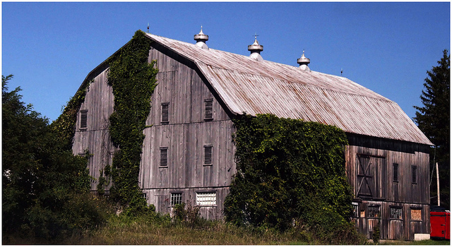 10. This barn is a little more modernized than the others, but the luxurious ivy that covers its wall adds a medieval touch.