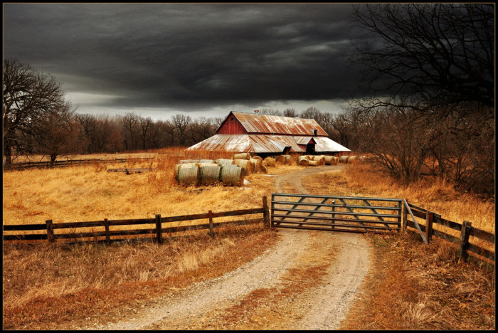 8. This old barn sits under a looming sky near Cherokee, waiting for the storm