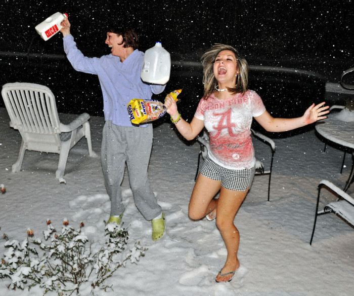 9. Milk & Bread: Even the slightest mention of a snowflake in Alabama sends everyone into believing they MUST have milk and bread if they expect to survive the snow.