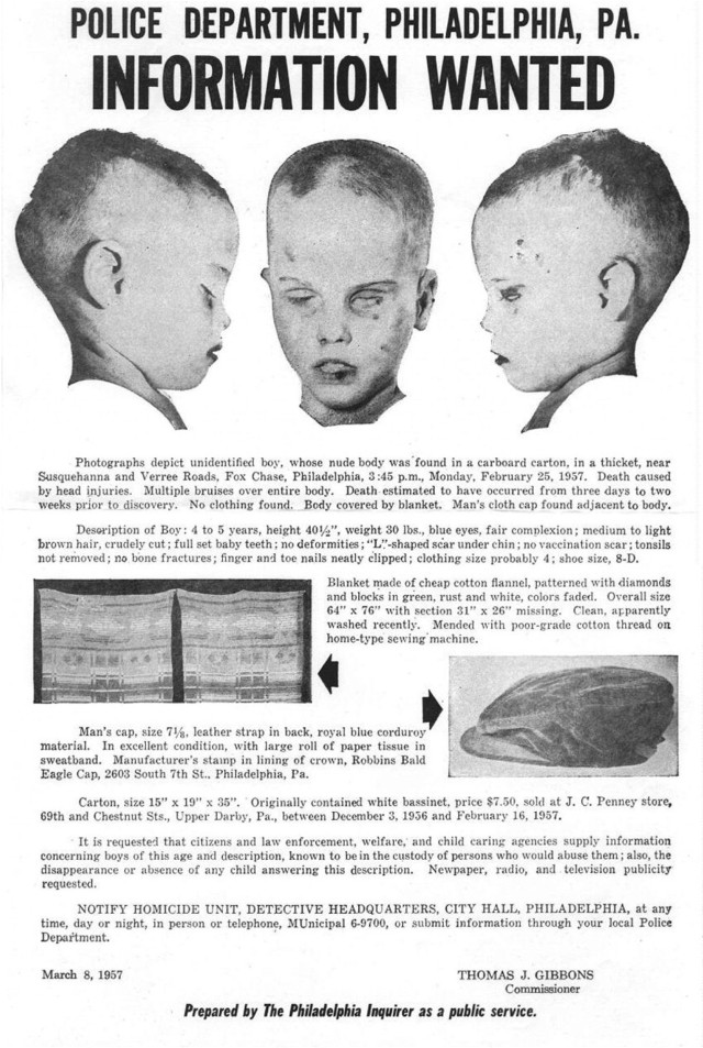 9. In 1957, the body of a young boy was found in Philadelphia, and authorities have never been able to identify him.