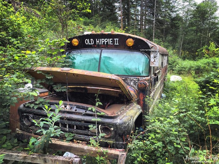 11) Decommissioned hippie bus somewhere in the coastal mountain range