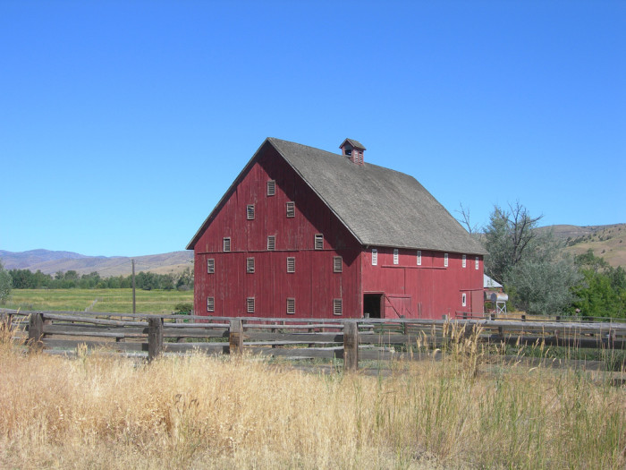 10) Red barn along US Highway 26 in Dayville, Oregon