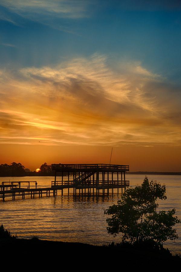 11) Sun settling down below the dock.