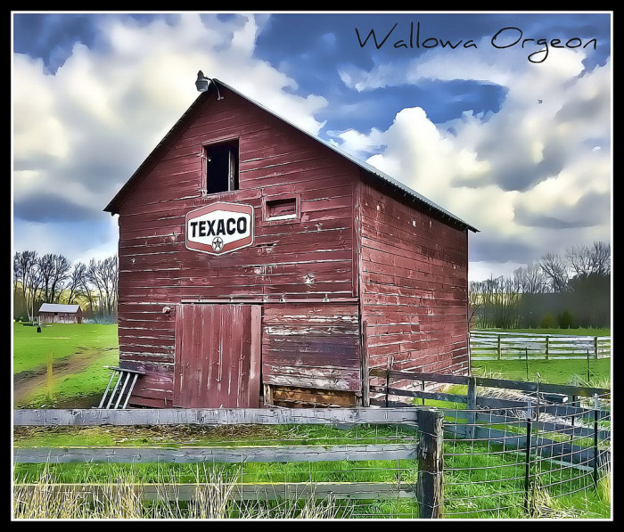 9) Old red barn with a Texaco sign in Enterprise, Oregon