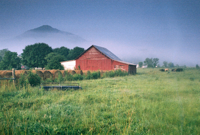 10) This barn and field is a perfect addition to a relaxing landscape