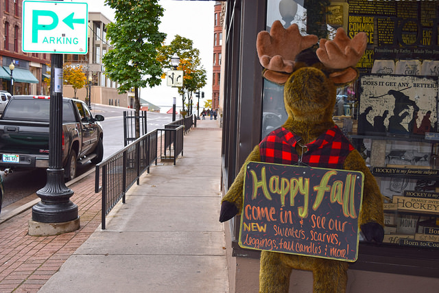 ...Where friendly moose, like this one, are an integral part of the city's shopping district.