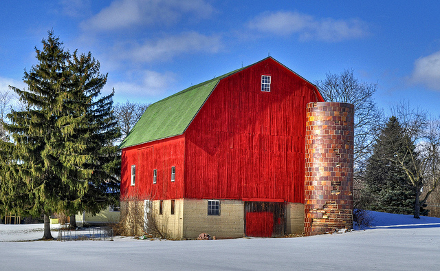 5) Red Barn in the Snow in Oakland County