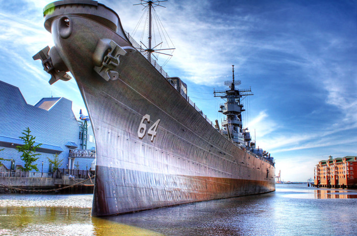 21. The USS Wisconsin stands guard at Norfolk