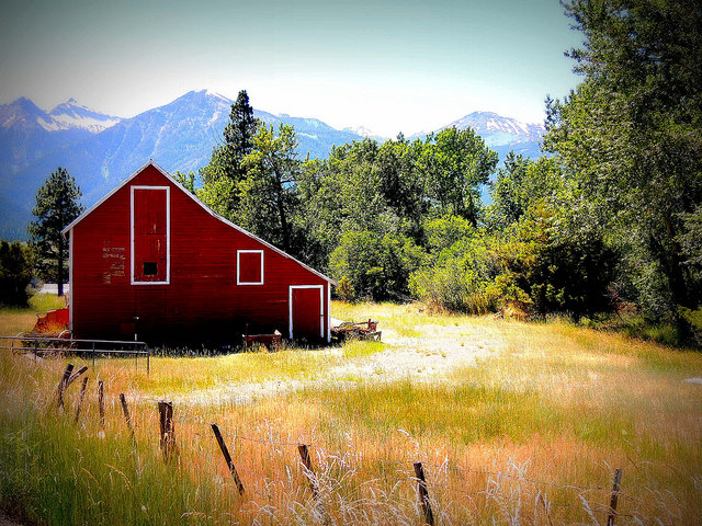 1) Bright red and white barn in Wallowa County, Oregon