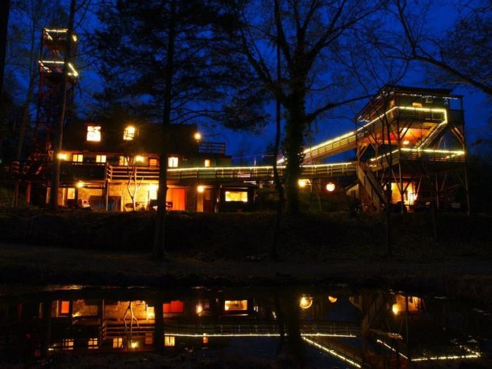 White Lotus Treehouse at night