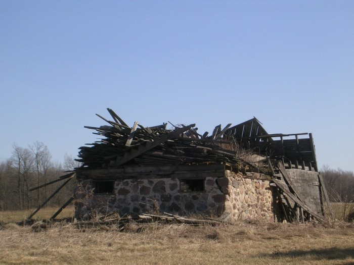 12. This old barn has completely collapsed in Marathon County.
