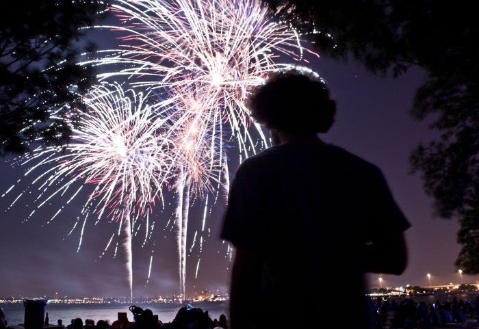 5. I love this particular shot of fireworks with the dark figure watching the show.