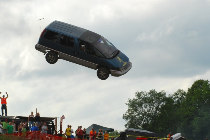 9. Yes, this is a photo of an actual car getting launched at Turtle Lake---it's how we roll in Wisconsin.